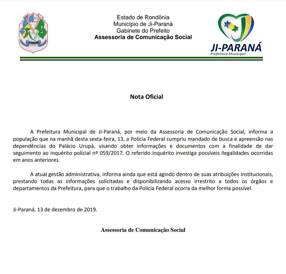 Nota Oficial:  Prefeitura Municipal de Ji-Paraná
