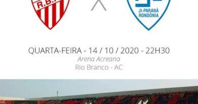 Assista ao vivo, Rio Branco AC x Ji-Paraná hoje (14) as 21:30